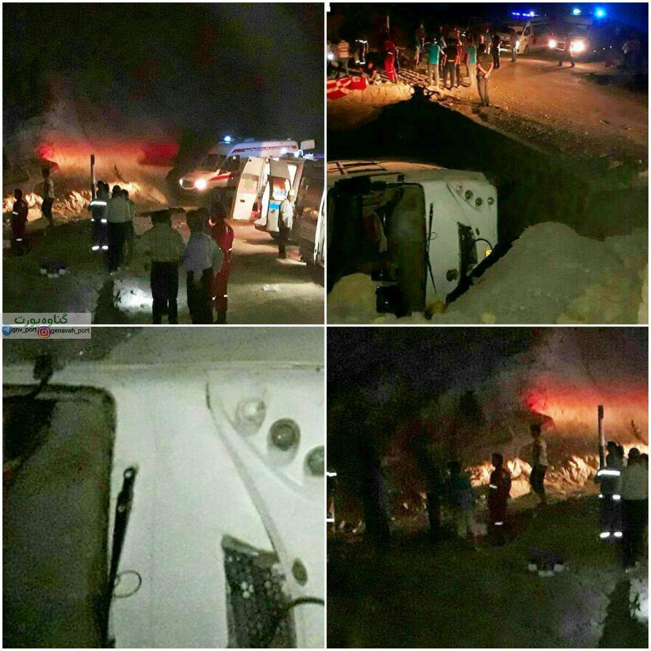 واژگونی اتوبوس در گچساران (+عکس)/ 2 کشته و 15 زخمی