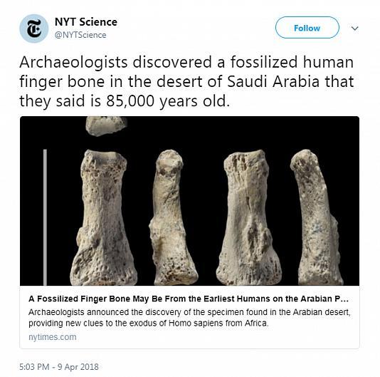 کشف بقایای ۸۵ هزار ساله انسان در عربستان سعودی