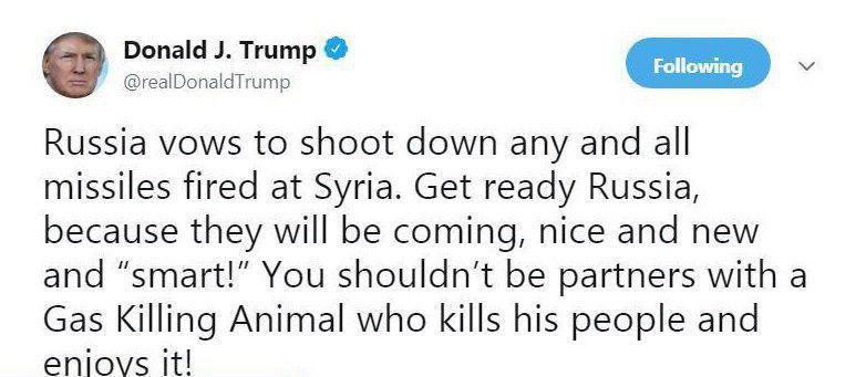ترامپ: روسیه، آماده باش!  با موشک های جدید و هوشمند به سوریه حمله می کنیم