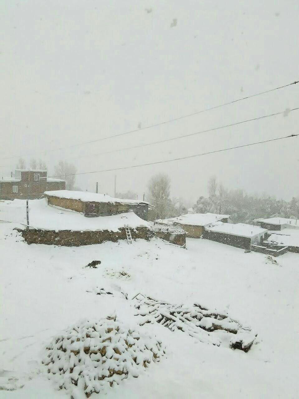 بارش برف در روستایی در کردستان