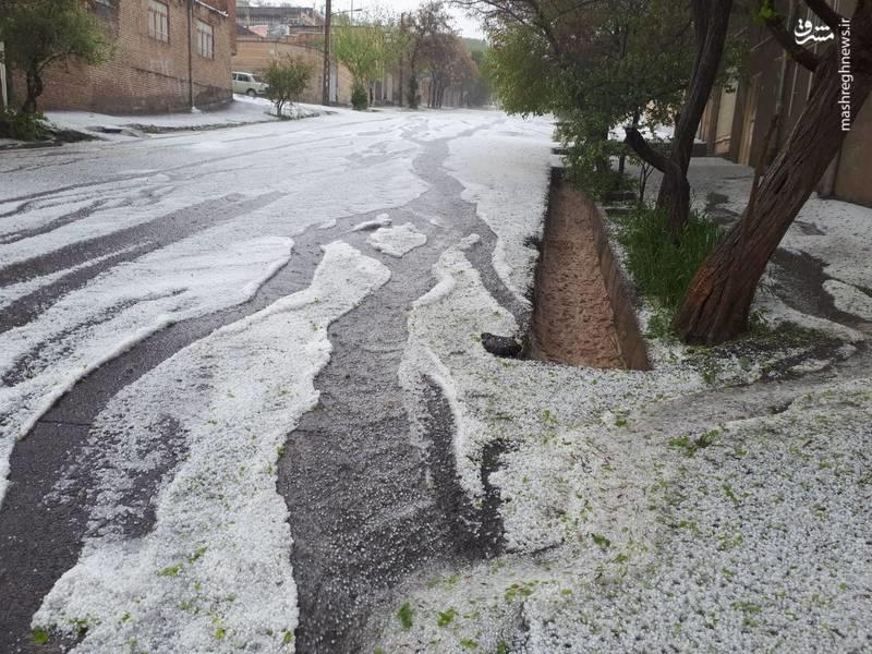 بارش شدید تگرگ در مراغه (عکس)