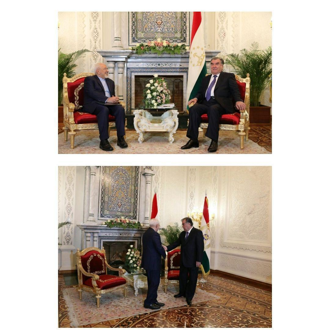دیدار ظریف با رئیس جمهور تاجیکستان (+عکس)