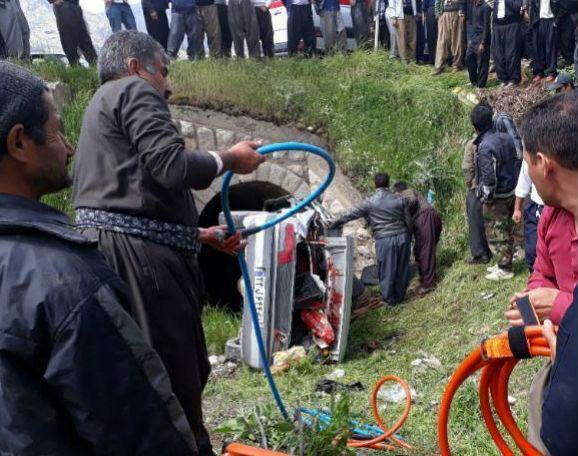 سه مصدوم در واژگونی سواری - کردستان (عکس)
