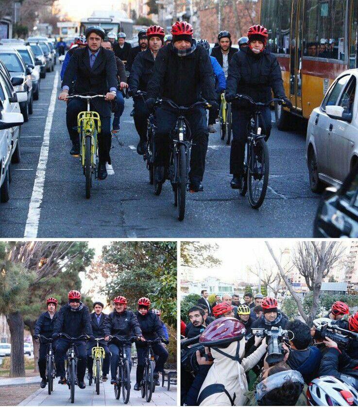 دوچرخه سواری حناچی با خبرنگاران (+عکس)