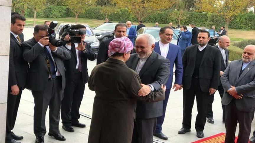 دیدار ظریف و مسعود بارزانی در کردستان عراق (+عکس)