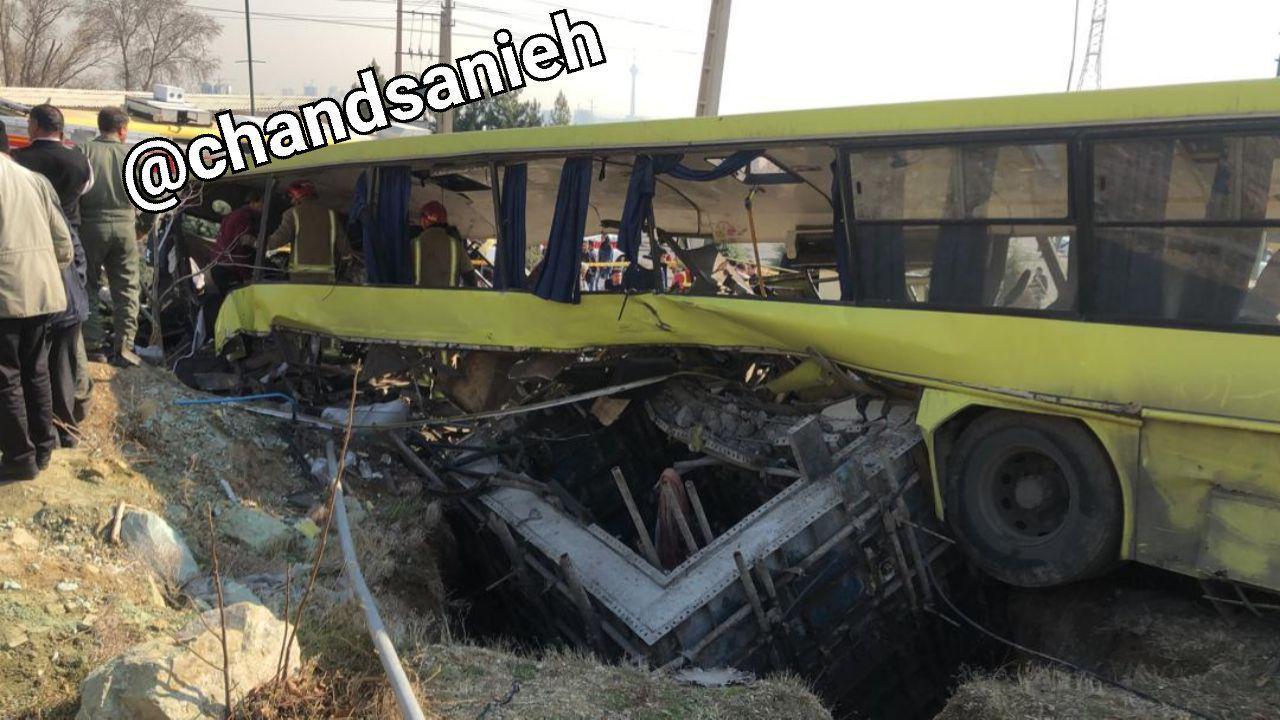 واژگونی اتوبوس در دانشگاه علوم تحقیقات تهران (+عکس)