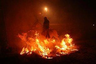 عبور اسب از آتش برای در امان ماندن از بلایا (عکس)