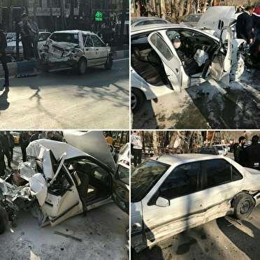 تصادف اتوبوس با 10 خودرو در هراز (+عکس)/ اعزام 9 مصدوم به تهران با بالگرد