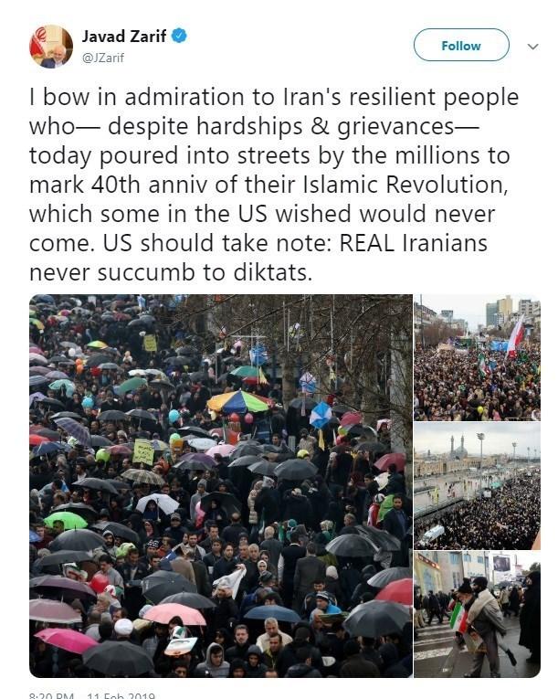 ظریف خطاب به آمریکا: ایرانیان واقعی هرگز تسلیم دیکته دیگران نمیشوند