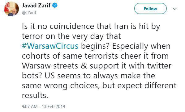 ظریف: اینکه ایران در روز برگزاری سیرک ورشو هدف حمله تروریستی قرار میگیرد، تصادفی است؟