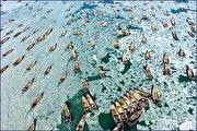 گیر افتادن صدها قایق چینی در میان یخها (فیلم)
