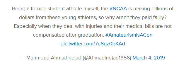 دغدغه احمدی نژاد برای حقوق قهرمانان ورزشی دانشجوی آمریکا