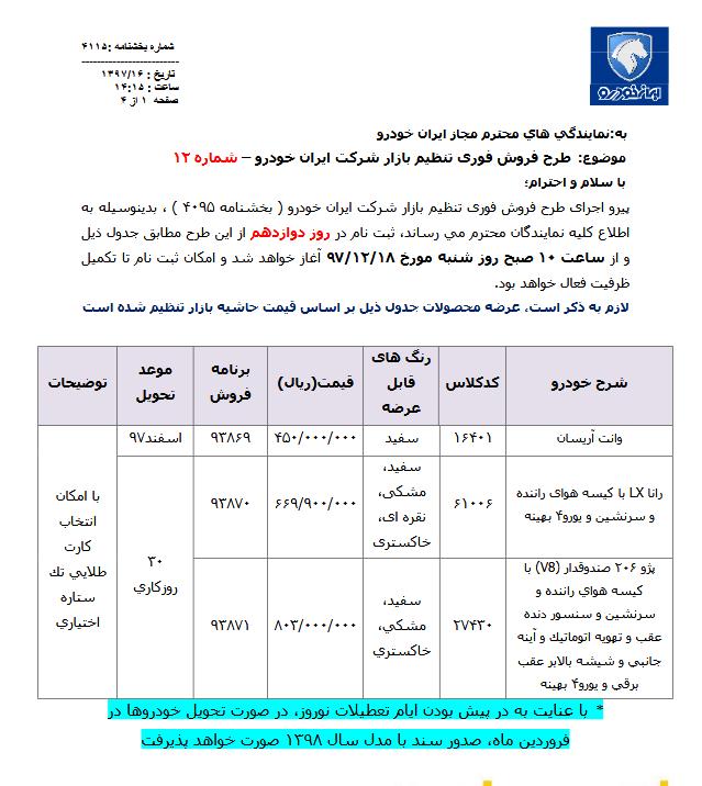 آغاز طرح فروش فوری  3 خودروی ایران خودرو  با مدل 98  از شنبه 18 اسفند (+جدول)