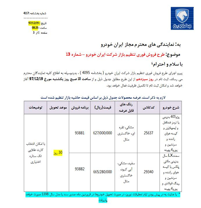 آغاز فروش فوری سمند  و پژو  405 توسط ایران خودرو (+جدول و مشخصات)