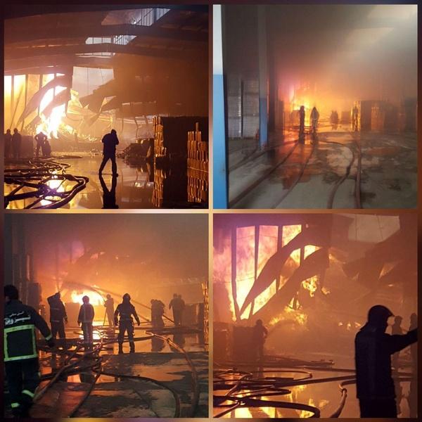 آتشسوزی در شرکت تولیدکننده چسب البرز (+عکس)/ 5 مصدوم و یک فوتی