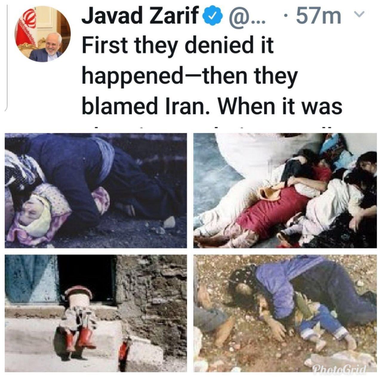 توئیت ظریف در سالگرد بمباران شیمیایی حلبچه: هرگز فراموش نخواهیم کرد