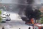 انفجارخودروی پیکان هنگام سوختگیری با کپسول گاز (فیلم)