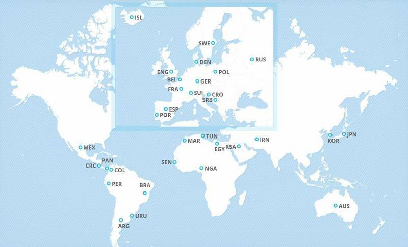 موقعیت جغرافیایی 32 تیم جام جهانی2018 (عکس)