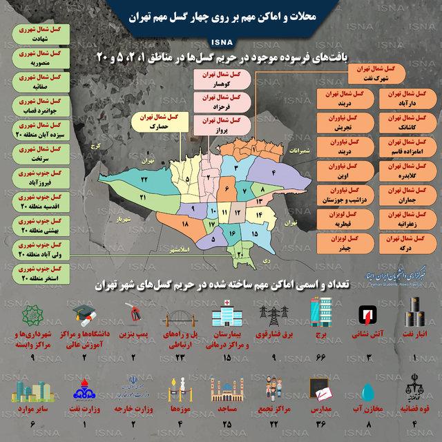 اماکن و محلاتی از تهران که بر روی گسلها قرار دارند (+اینفوگرافیک)
