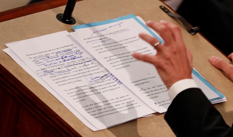 متنی که ماکرون از روی آن در کنگره آمریکا روخوانی کرد (عکس)