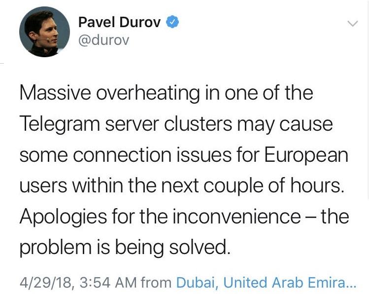 پاوول دوروف: در حال رفع اختلالات ارتباطی تلگرام هستیم