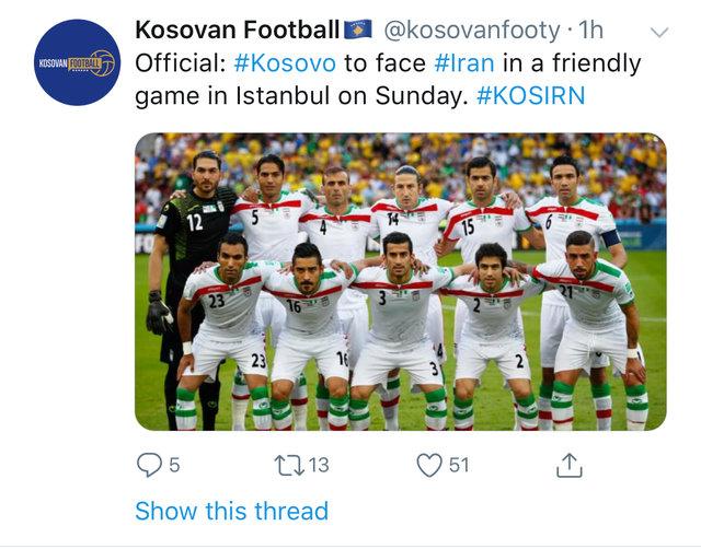 ادعای یکی از رسانه های کوزوو: تیم ملی ایران به جای یونان به مصاف کوزوو میرود
