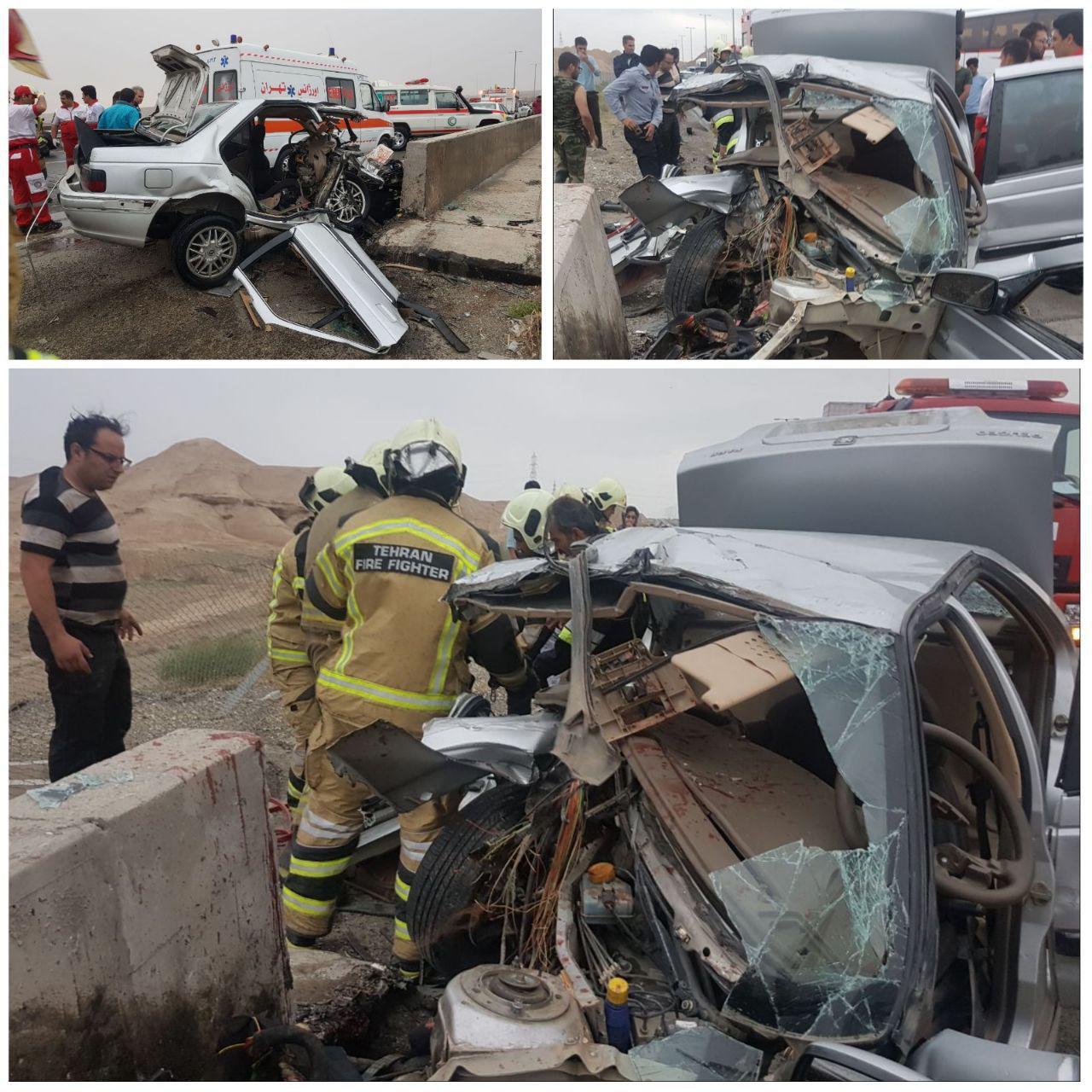 2 کشته در سانحه رانندگی در جاده تهران - قم (+عکس)