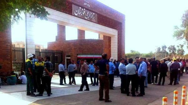 راهپیمایی اعتراضی کارگران گروه ملی فولاد در اهواز