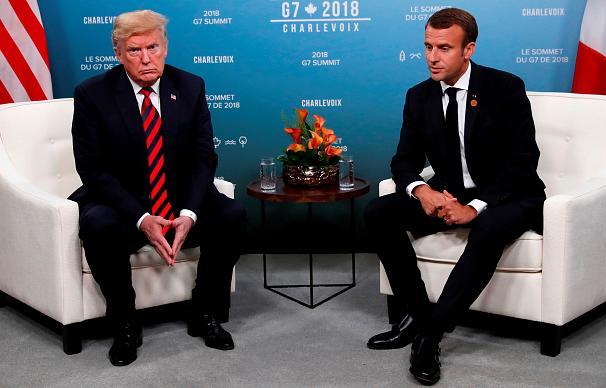 رد انگشت شست مکرون روی دست ترامپ ماند (عکس) / ماکرون: هدفدار بود