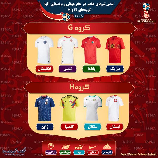 لباس تیمهای گروههای G و H جام جهانی (اینفوگرافی)