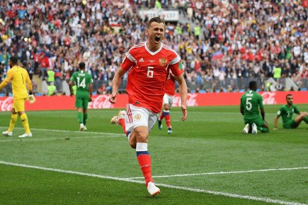 شکست سنگین عربستان مقابل روسیه در بازی افتتاحیه