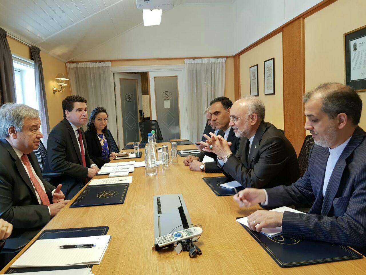 دیدار صالحی با دبیرکل سازمان ملل در نروژ (+عکس)