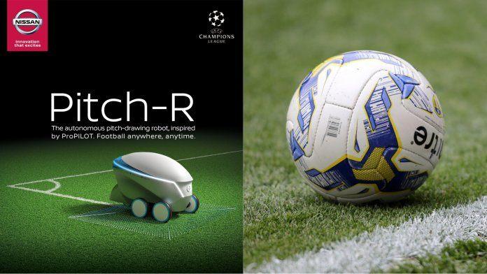 خط کشی زمین فوتبال توسط روبات نیسان