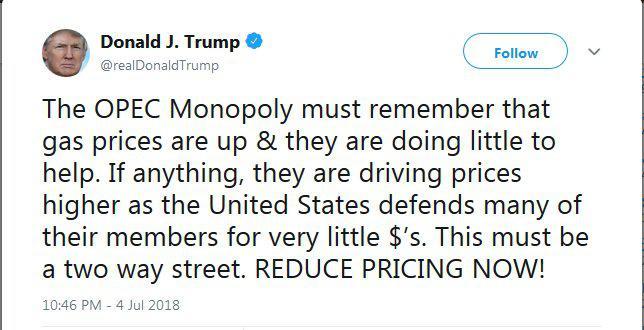 ترامپ خطاب به اوپک: قیمتها را همین حالا کاهش دهید