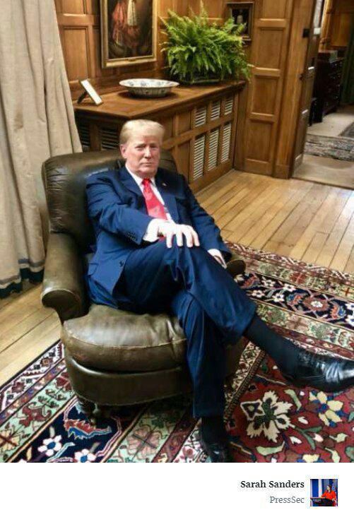 ترامپ روی صندلی چرچیل نشست (+ عکس)