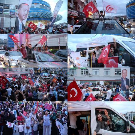 شادی مردم ترکیه در پی اعلام پیروزی اردوغان (+عکس)
