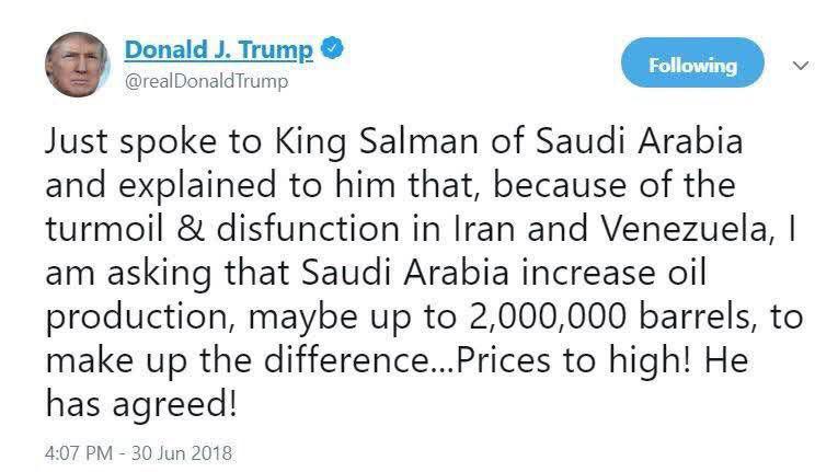 ترامپ: شاه عربستان با افزایش 2 میلیون بشکهای تولید نفت موافقت کرد