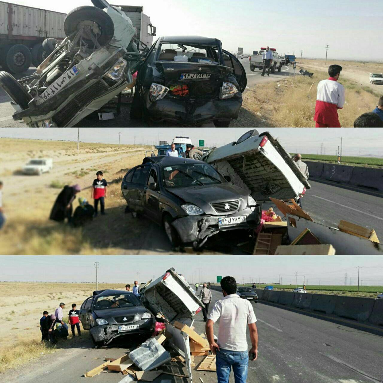 مصدومیت 13 نفر در تصادف زنجیره ای قوچان (+عکس)