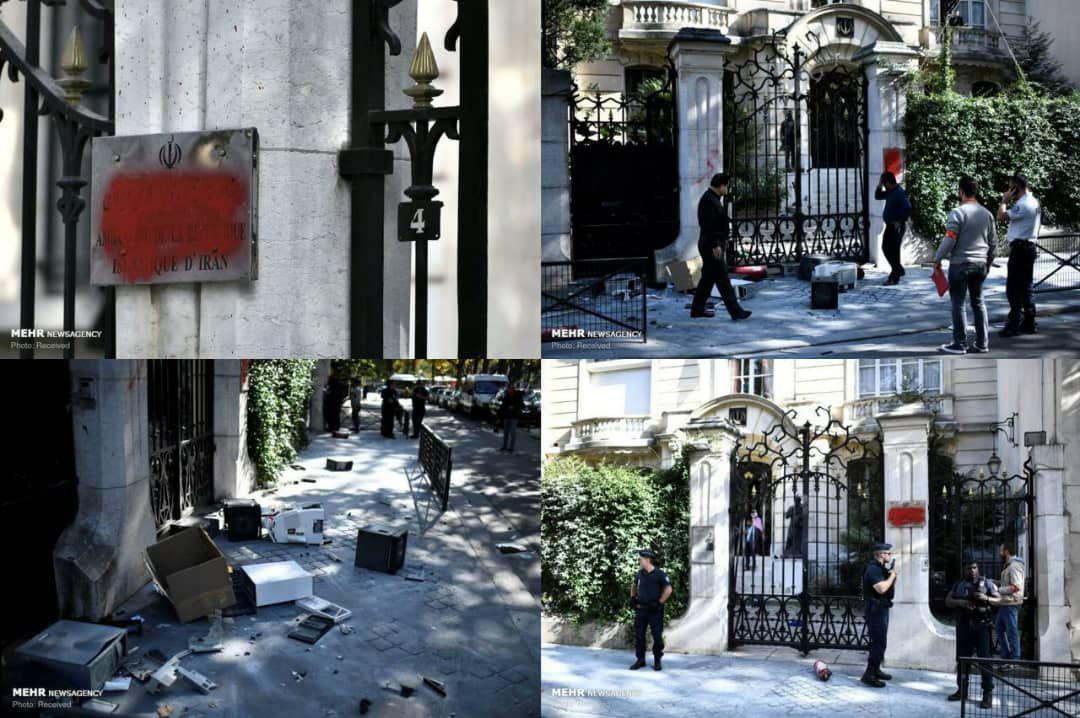حمله به سفارت ایران در پاریس (عکس)