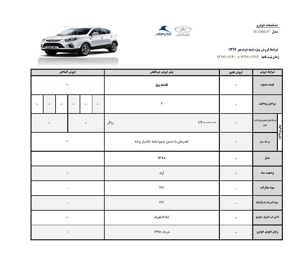 آغاز فروش  2 خودروی شاسی بلند جک S3 و S5 از فردا 22 مهر ماه (+جزئیات و جدول)