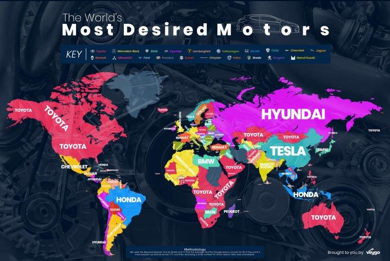 تویوتا، بامو بنز محبوبترینهای دنیای مجازی در جهان/سرچ 7.8 میلیون کلمه تویوتا در گوگل در یک ماه/ کدام کشورها به کدام برندها علاقه بیشتری دارند؟
