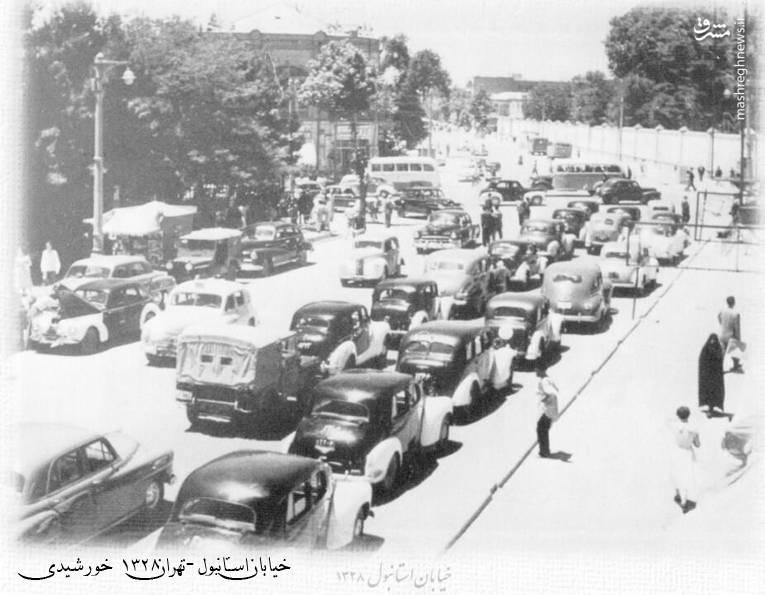 ترافیک چهار راه استانبول، 70 سال قبل (عکس)