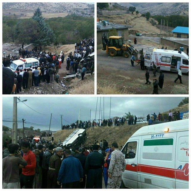 واژگونی مینی بوس در جاده کرمانشاه(+عکس)/ 3 کشته و 15 زخمی