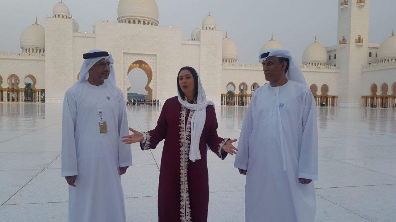 حضور وزیر فرهنگ و ورزش اسرائیل در مسجد شیخ زاید ابوظبی (عکس)