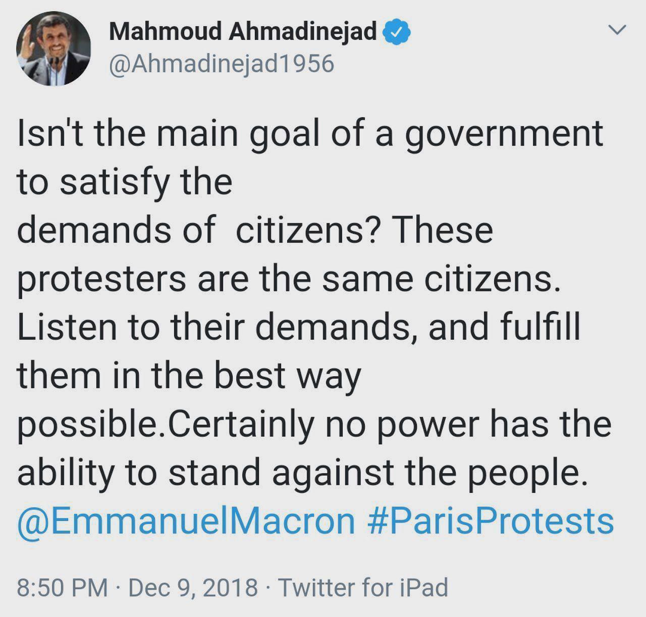 تذکر احمدینژاد به رئیس جمهور فرانسه: به حرف مردم گوش کن