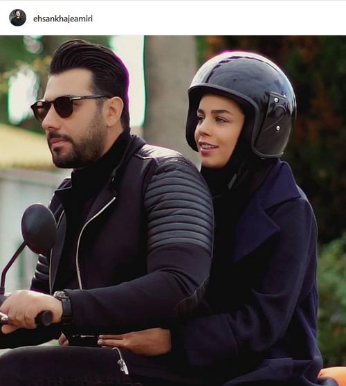 موتور سواری احسان خواجه امیری و همسرش (عکس)