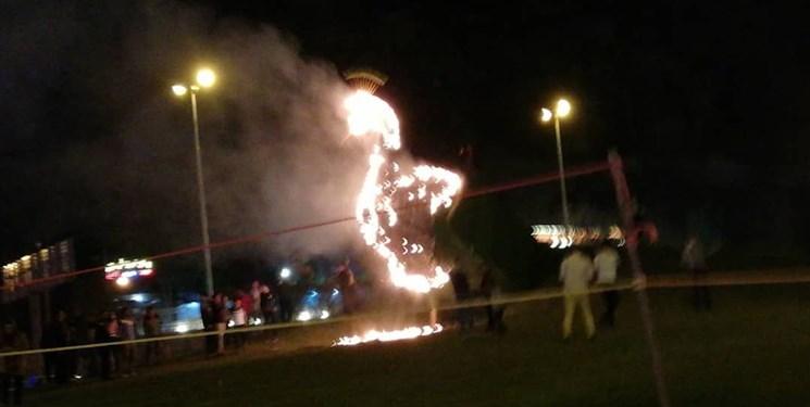 طاووس دروازه قرآن شیراز آتش گرفت