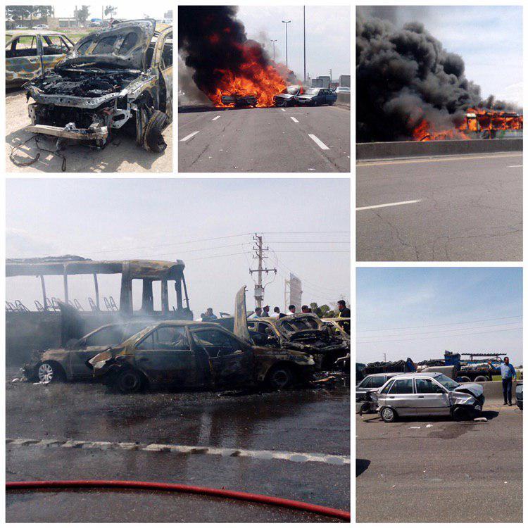 تصادف در اتوبان تهران - ساوه/ 7 کشته (+عکس و فیلم)