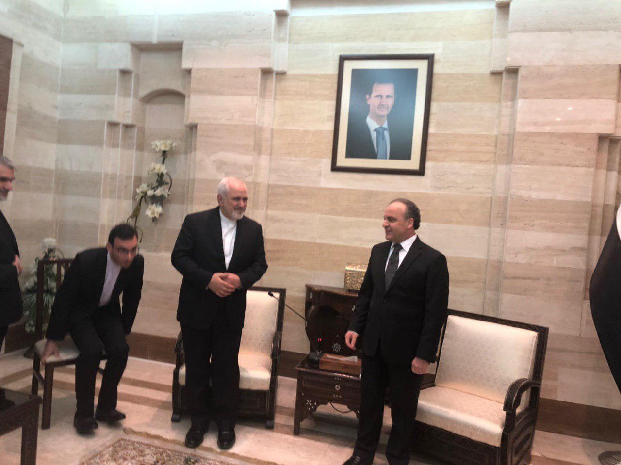 دیدار ظریف با نخست وزیر سوریه در دمشق (+عکس)