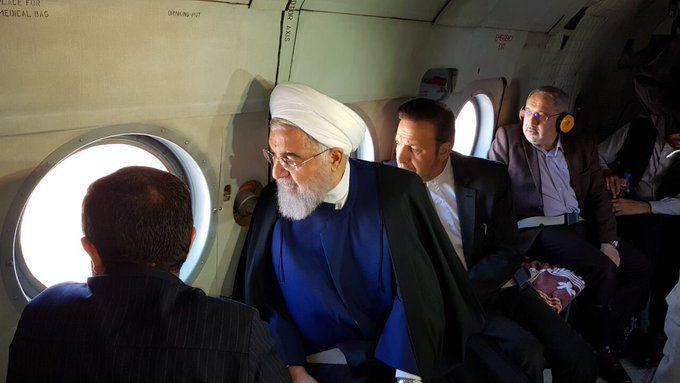 بازدید هوایی روحانی از سیل خوزستان (عکس)
